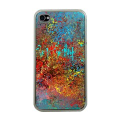 Abstract in Red, Turquoise, and Yellow Apple iPhone 4 Case (Clear)