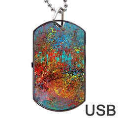 Abstract In Red, Turquoise, And Yellow Dog Tag Usb Flash (one Side)
