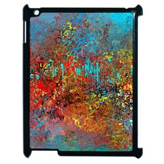 Abstract In Red, Turquoise, And Yellow Apple Ipad 2 Case (black)