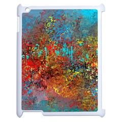 Abstract in Red, Turquoise, and Yellow Apple iPad 2 Case (White)