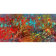 Abstract in Red, Turquoise, and Yellow YOU ARE INVITED 3D Greeting Card (8x4)