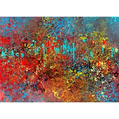 Abstract In Red, Turquoise, And Yellow Birthday Cake 3d Greeting Card (7x5)
