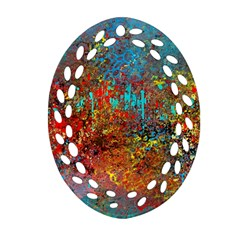 Abstract In Red, Turquoise, And Yellow Oval Filigree Ornament (2 Side)