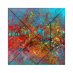 Abstract in Red, Turquoise, and Yellow Acrylic Tangram Puzzle (6  x 6 )