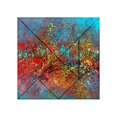 Abstract in Red, Turquoise, and Yellow Acrylic Tangram Puzzle (4  x 4 )