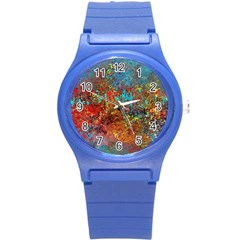 Abstract in Red, Turquoise, and Yellow Round Plastic Sport Watch (S)