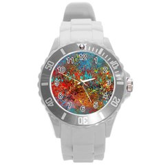 Abstract In Red, Turquoise, And Yellow Round Plastic Sport Watch (l)