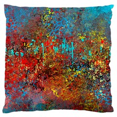 Abstract In Red, Turquoise, And Yellow Large Cushion Cases (one Side)