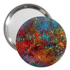 Abstract In Red, Turquoise, And Yellow 3  Handbag Mirrors