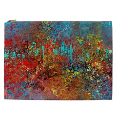 Abstract in Red, Turquoise, and Yellow Cosmetic Bag (XXL)