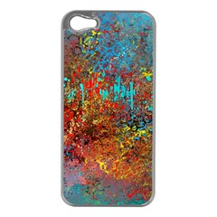 Abstract In Red, Turquoise, And Yellow Apple Iphone 5 Case (silver)