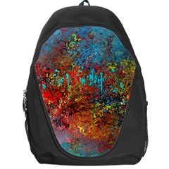 Abstract In Red, Turquoise, And Yellow Backpack Bag