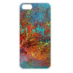Abstract In Red, Turquoise, And Yellow Apple Iphone 5 Seamless Case (white)