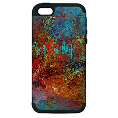 Abstract in Red, Turquoise, and Yellow Apple iPhone 5 Hardshell Case (PC+Silicone)