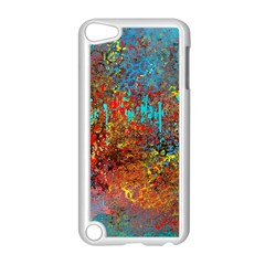 Abstract In Red, Turquoise, And Yellow Apple Ipod Touch 5 Case (white)