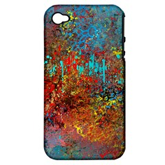 Abstract in Red, Turquoise, and Yellow Apple iPhone 4/4S Hardshell Case (PC+Silicone)