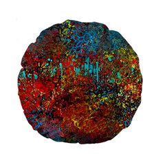 Abstract In Red, Turquoise, And Yellow Standard 15  Premium Round Cushions