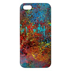 Abstract in Red, Turquoise, and Yellow Apple iPhone 5 Premium Hardshell Case