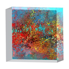 Abstract in Red, Turquoise, and Yellow 5  x 5  Acrylic Photo Blocks