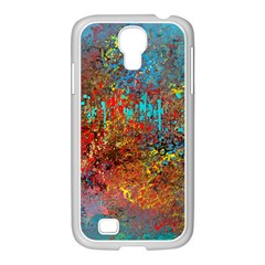 Abstract in Red, Turquoise, and Yellow Samsung GALAXY S4 I9500/ I9505 Case (White)