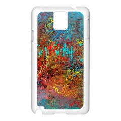 Abstract In Red, Turquoise, And Yellow Samsung Galaxy Note 3 N9005 Case (white)