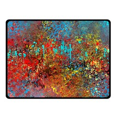Abstract in Red, Turquoise, and Yellow Double Sided Fleece Blanket (Small)