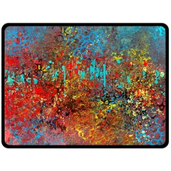 Abstract in Red, Turquoise, and Yellow Double Sided Fleece Blanket (Large)