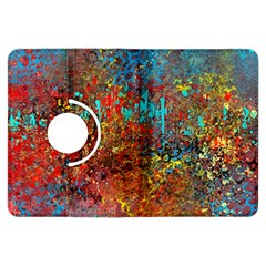 Abstract In Red, Turquoise, And Yellow Kindle Fire Hdx Flip 360 Case
