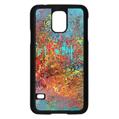 Abstract in Red, Turquoise, and Yellow Samsung Galaxy S5 Case (Black)