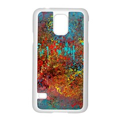 Abstract in Red, Turquoise, and Yellow Samsung Galaxy S5 Case (White)
