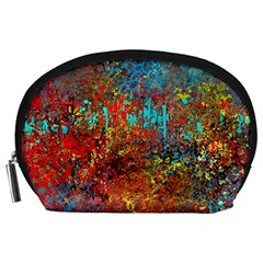 Abstract In Red, Turquoise, And Yellow Accessory Pouches (large)