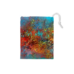 Abstract In Red, Turquoise, And Yellow Drawstring Pouches (small)
