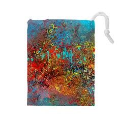 Abstract in Red, Turquoise, and Yellow Drawstring Pouches (Large)
