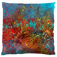 Abstract In Red, Turquoise, And Yellow Large Flano Cushion Cases (one Side)