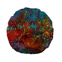 Abstract In Red, Turquoise, And Yellow Standard 15  Premium Flano Round Cushions