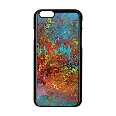 Abstract in Red, Turquoise, and Yellow Apple iPhone 6/6S Black Enamel Case