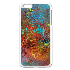 Abstract in Red, Turquoise, and Yellow Apple iPhone 6 Plus/6S Plus Enamel White Case