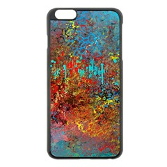 Abstract in Red, Turquoise, and Yellow Apple iPhone 6 Plus/6S Plus Black Enamel Case