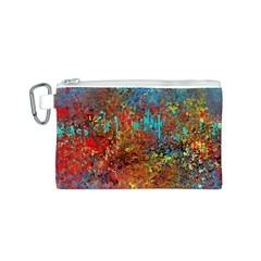 Abstract In Red, Turquoise, And Yellow Canvas Cosmetic Bag (s)