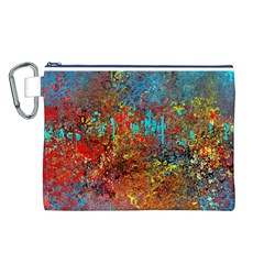Abstract In Red, Turquoise, And Yellow Canvas Cosmetic Bag (l)