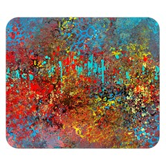 Abstract in Red, Turquoise, and Yellow Double Sided Flano Blanket (Small)