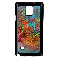 Abstract In Red, Turquoise, And Yellow Samsung Galaxy Note 4 Case (black)