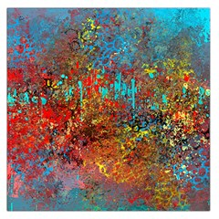 Abstract In Red, Turquoise, And Yellow Large Satin Scarf (square)