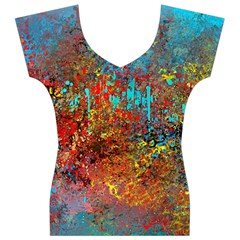 Abstract in Red, Turquoise, and Yellow Women s V-Neck Cap Sleeve Top