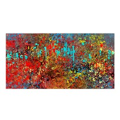 Abstract In Red, Turquoise, And Yellow Satin Shawl