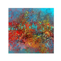 Abstract In Red, Turquoise, And Yellow Small Satin Scarf (square)