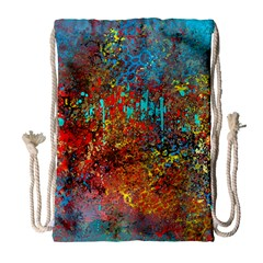 Abstract in Red, Turquoise, and Yellow Drawstring Bag (Large)