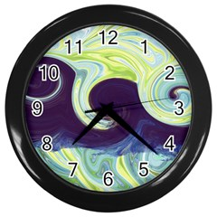 Abstract Ocean Waves Wall Clocks (black)