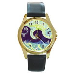 Abstract Ocean Waves Round Gold Metal Watches