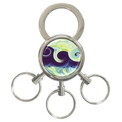 Abstract Ocean Waves 3 Ring Key Chains